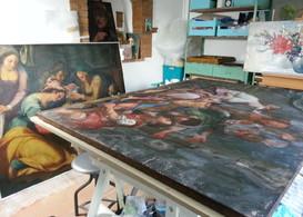 Restauration de tableaux, Conservation, Painting restoration, vernis jauni, couche picturale manquante, soulèvement de couche, tension insuffisante, varnish, work in progress